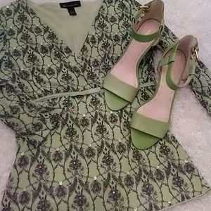 Lime Green Leather Sandals nwob